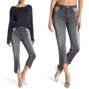 New FRAME Nouveau Le Mix Staggered Hem Crop Jeans